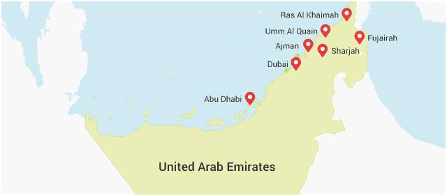 map uae